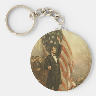 President Abraham Lincoln Under the American Flag Basic Round Button Key Ring
