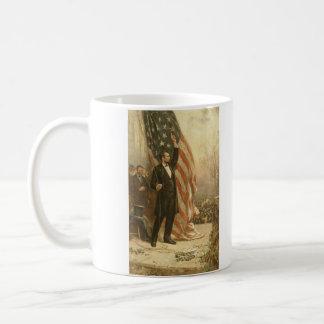 President Abraham Lincoln Under the American Flag Basic White Mug