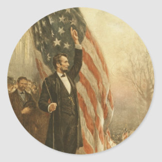 President Abraham Lincoln Under the American Flag Round Sticker