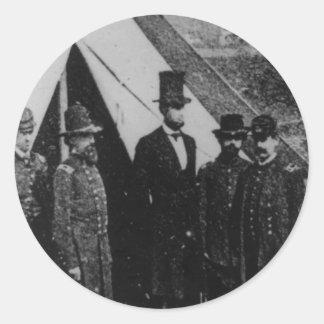 President Abraham Lincoln Visiting Antietam 1862 Round Sticker