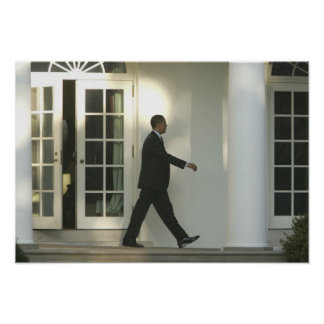 President Barack in deep thought as he walks Poster