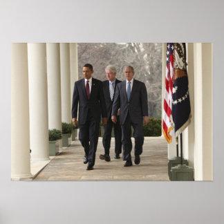 President Barack Obama and former presidents Poster