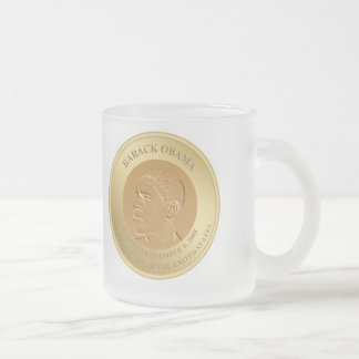 PRESIDENT BARACK OBAMA FROSTED GLASS COFFEE MUG