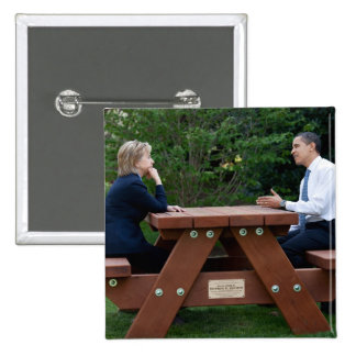 President Barack Obama & Hillary Clinton 15 Cm Square Badge