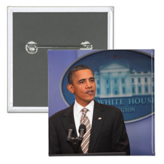 President Barack Obama makes an announcement 15 Cm Square Badge