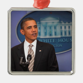 President Barack Obama makes an announcement Christmas Ornament