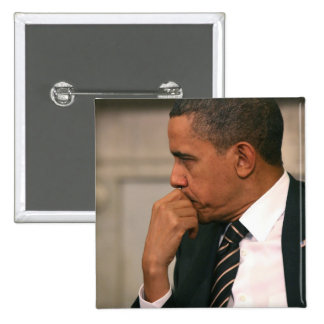 President Barack Obama meets with President 15 Cm Square Badge