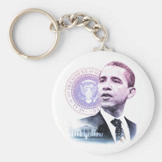 President Barack Obama Portrait Basic Round Button Key Ring