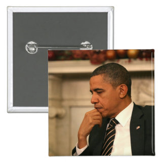 President Barack Obama reflects as he meets 15 Cm Square Badge