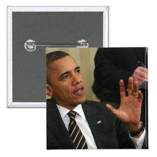 President Barack Obama talks to the press 15 Cm Square Badge