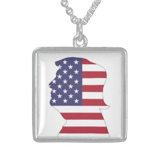 PRESIDENT DONALD TRUMP AMERICAN FLAG STERLING SILVER NECKLACE