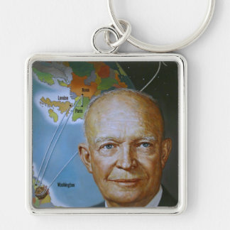 President Dwight D. Eisenhower Silver-Colored Square Key Ring