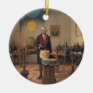 President George Washington as a Master Mason Round Ceramic Decoration