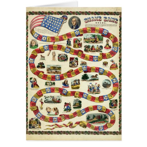 President George Washington Snake Game Greeting Card