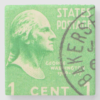 President George Washington Vintage Postage Stamp Stone Beverage Coaster