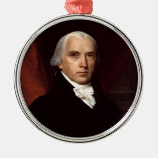 President James Madison Portrait by John Vanderlyn Round Metal Christmas Ornament