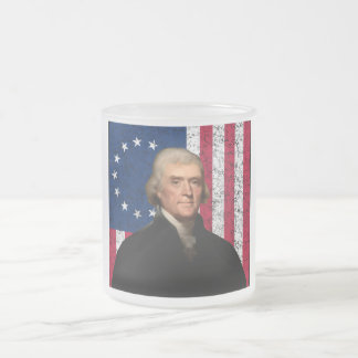 President Jefferson and The American Flag 10 Oz Frosted Glass Coffee Mug