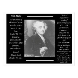President John Adams Postcard
