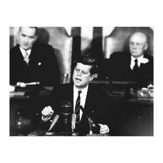 President John F. Kennedy Men to the Moon Speech Stretched Canvas Prints