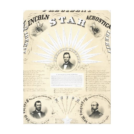 President Lincoln Acrostic Star 1864 Gallery Wrap Canvas