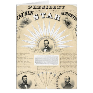President Lincoln Acrostic Star 1864 Greeting Card
