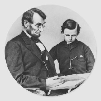 President Lincoln reading with son Tad (sheet 20) Round Sticker