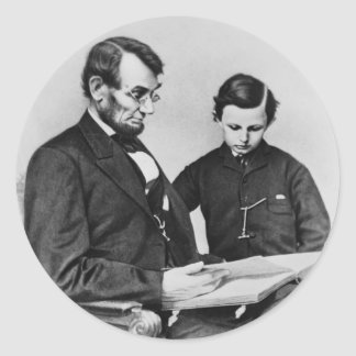President Lincoln reading with son Tad Stickers