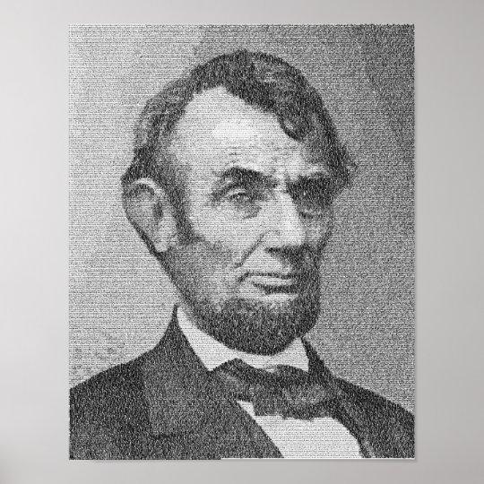 President Lincoln Render w/the Gettysburg Address Poster