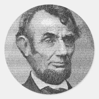 President Lincoln Render w/the Gettysburg Address Round Sticker