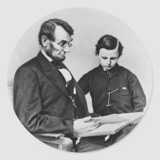 President Lincoln Sticker - Reading with son Tad