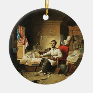 President Lincoln Writing Proclamation of Freedom Christmas Ornament