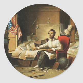 President Lincoln Writing Proclamation of Freedom Round Sticker