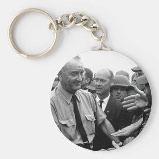 President Lyndon B. Johnson greets American troops Basic Round Button Key Ring