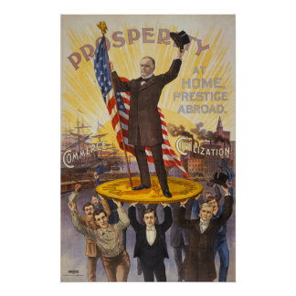President McKinley standing on a giant coin Posters