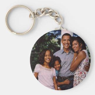 President Obama First Family Basic Round Button Key Ring