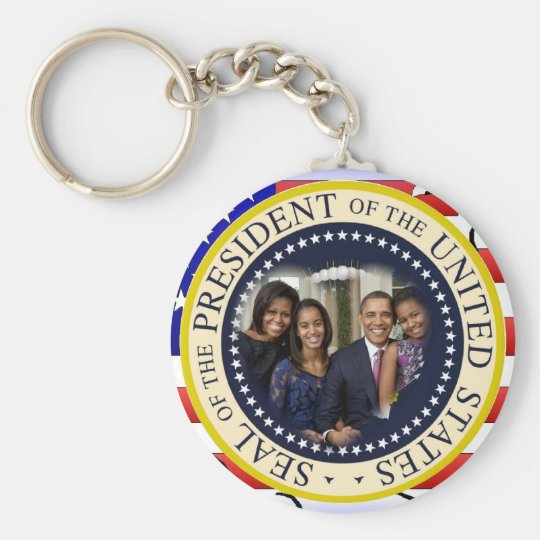 President Obama First Family Keepsake Basic Round Button Key Ring