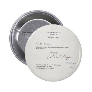 President Richard M. Nixon Resignation Letter 6 Cm Round Badge