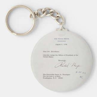 President Richard M. Nixon Resignation Letter Basic Round Button Key Ring