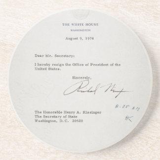 President Richard M. Nixon Resignation Letter Beverage Coasters
