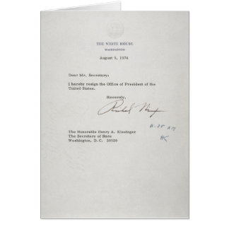 President Richard M. Nixon Resignation Letter Greeting Card