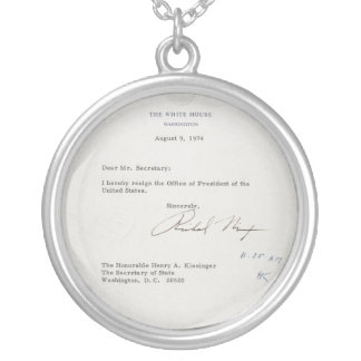 President Richard M. Nixon Resignation Letter Round Pendant Necklace