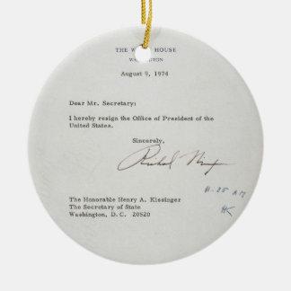 President Richard M. Nixon Resignation Letter Round Ceramic Decoration