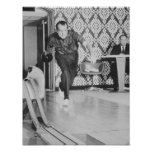 President Richard Nixon Bowling At The White House Poster