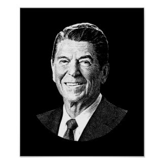 President Ronald Reagan Graphic - Black and White Poster