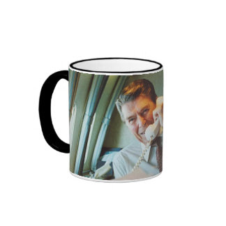 President Ronald Reagan On Air Force One Coffee Mugs