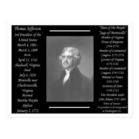 President Thomas Jefferson Postcard