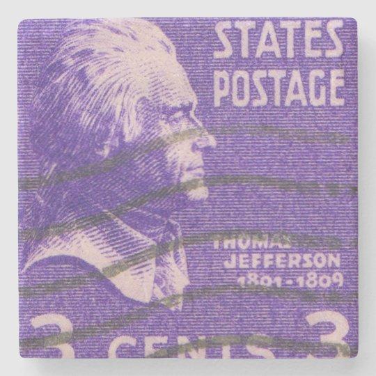 President Thomas Jefferson Vintage Postage Stamp Stone Coaster