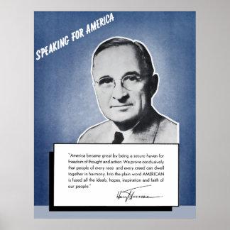 President Truman -- Speaking For America Poster