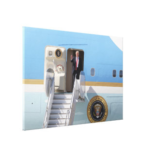 President Trump Steps Off Air Force One Canvas Print