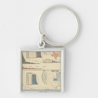 Presidential elections 1860-1868 Silver-Colored square key ring